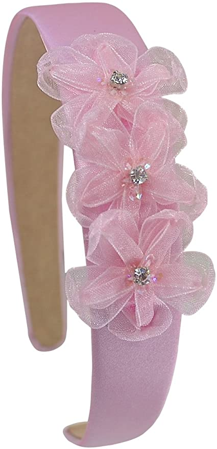 Lulu Organza Rhinesone Flower Arch Headband - 10 Colors!