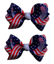 Load image into Gallery viewer, Set of 2 - 3 Inch USA Patriotic Flag Grosgrain Ribbon Boutique Children's Hair Bows