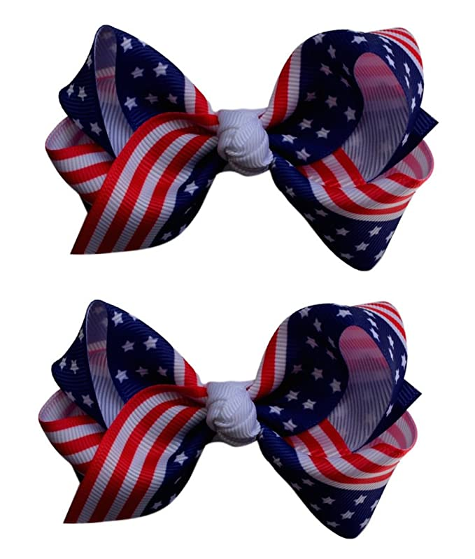 Set of 2 - 3 Inch USA Patriotic Flag Grosgrain Ribbon Boutique Children's Hair Bows