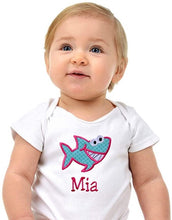 Load image into Gallery viewer, Personalized Embroidered Baby Shark Bodysuit with Your Custom Name for Girls