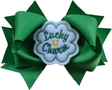 Load image into Gallery viewer, Lucky Charm Shamrock St. Patrick's Day 4.5 Inch Hair Bow