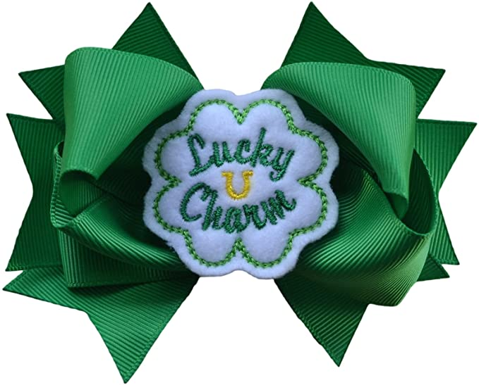Lucky Charm Shamrock St. Patrick's Day 4.5 Inch Hair Bow