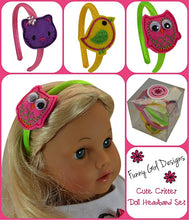 Load image into Gallery viewer, Set of 3 18 Inch Doll Headbands with Cute Critters Boxed Gift Set