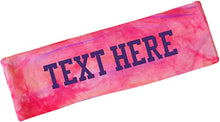 Load image into Gallery viewer, Tie Dye Headband Personalized with Your Custom Vinyl Text - 2.25 Inches Wide & Lightweight