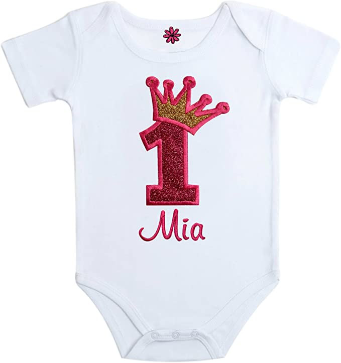 Personalized Embroidered Sparkling Glitter 1st Birthday Bodysuit with Your Custom Name