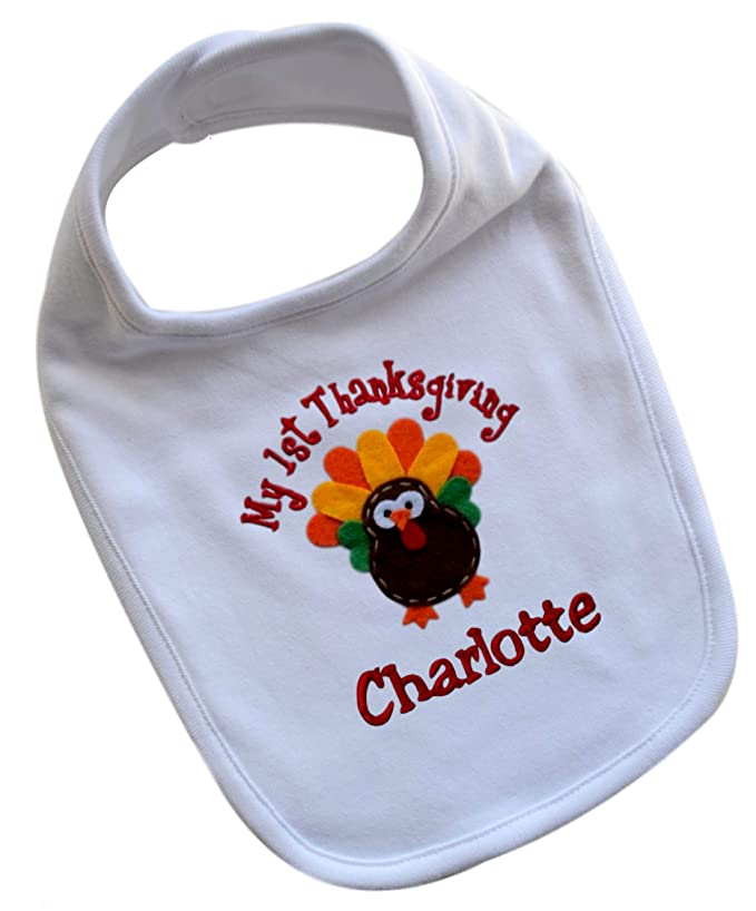 My First Thanksgiving Personalized Embroidered Turkey Baby Bib