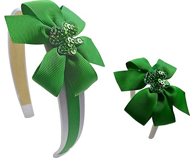 Girls Dolly and Me Sparkling Shamrock Matching Headband Boxed Gift Set - Fits 18 Inch Dolls