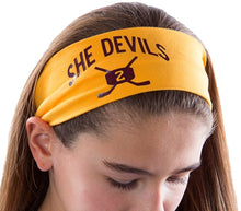Load image into Gallery viewer, Ice Hockey Cotton Stretch Headband with Your Custom and Personalized VINYL Text - Quantity Discounts