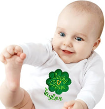 Load image into Gallery viewer, Personalized Embroidered Lucky Charm St. Patrick's Day Bodysuit with Your Custom Name