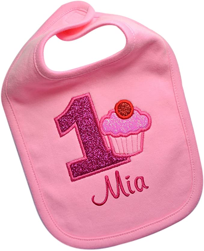 First Birthday Sparkling Cupcake Year One Smash Bib with Custom Name