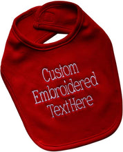 Load image into Gallery viewer, Personalized 100% Cotton Baby Boy Bib Embroidered with Your Custom Text