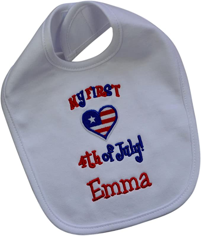 My First 4th of July Personalized Embroidered Patriotic Bib for Baby Girl