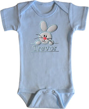 Load image into Gallery viewer, Embroidered Fuzzy Easter Bunny Bodysuit With Personalized Name for BOYS