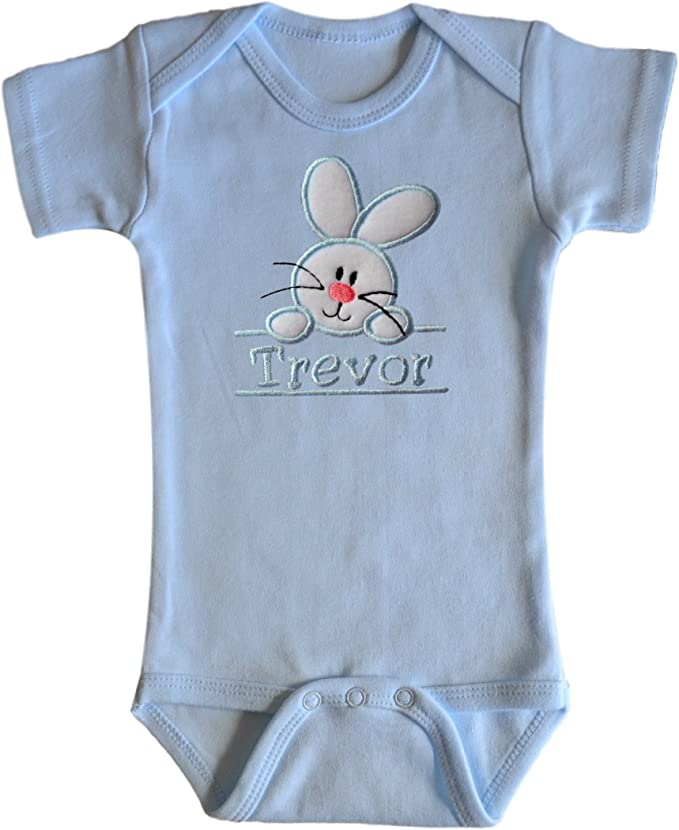 Embroidered Fuzzy Easter Bunny Bodysuit With Personalized Name for BOYS