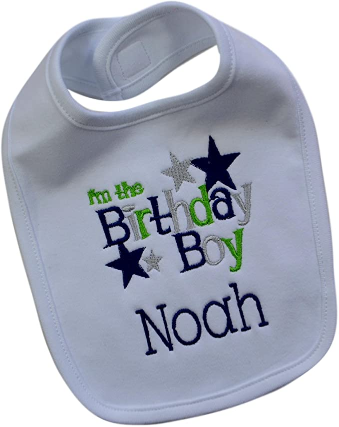 First Birthday Smash Bib with Custom Embroidered Name for Baby Boys