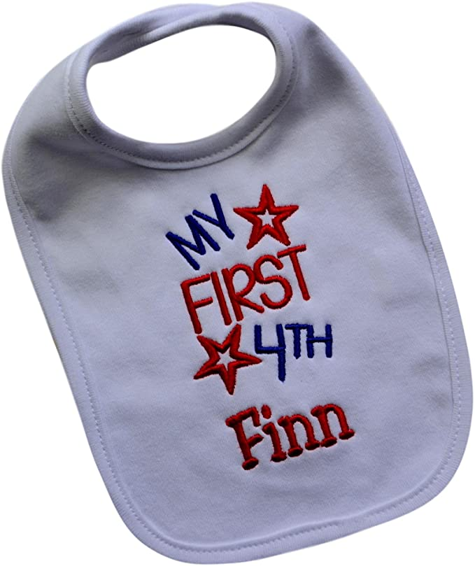 My First 4th of July Personalized Embroidered Patriotic Bib for Baby Boy
