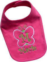 Load image into Gallery viewer, Baby Girl's Butterfly Bib Embroidered with Custom Name and Initial