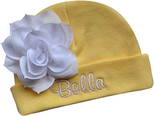 Load image into Gallery viewer, Embroidered Baby Girl Hat with Lotus Flower and Custom Name