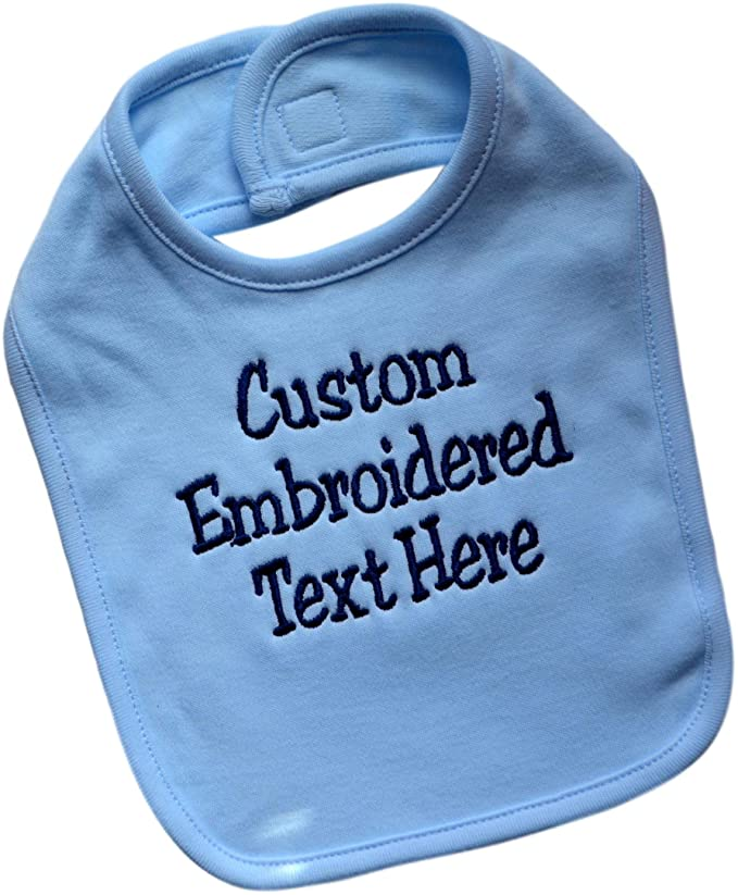 Personalized 100% Cotton Baby Boy Bib Embroidered with Your Custom Text