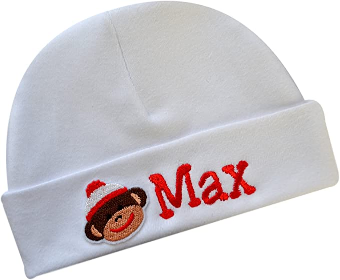 Personalized Cotton Baby Hat with Custom Embroidered Name and Sock Monkey