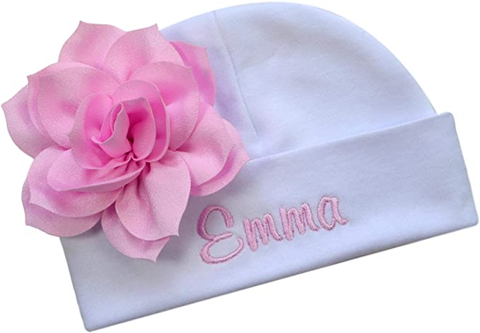 Embroidered Baby Girl Hat with Lotus Flower and Custom Name