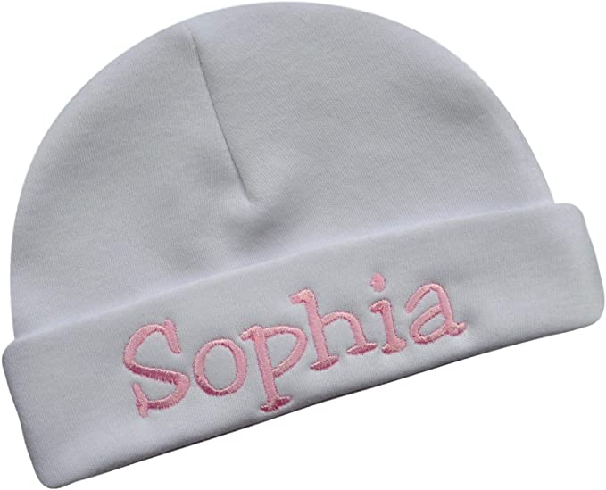 Personalized Cotton Baby Hat for Girls with Custom Embroidered Name