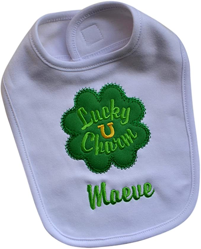 Lucky Charm St. Patrick's Day Embroidered Baby Bib with Your Custom Name
