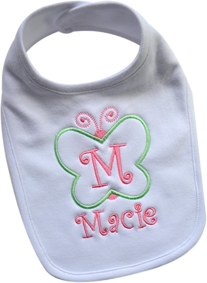 Baby Girl's Butterfly Bib Embroidered with Custom Name and Initial