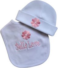 Load image into Gallery viewer, Personalized Baby Girl Daisy Bib with Matching Hat and Your Embroidered Text