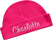 Load image into Gallery viewer, Personalized Cotton Baby Hat for Girls with Custom Embroidered Name