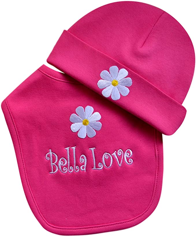 Personalized Baby Girl Daisy Bib with Matching Hat and Your Embroidered Text