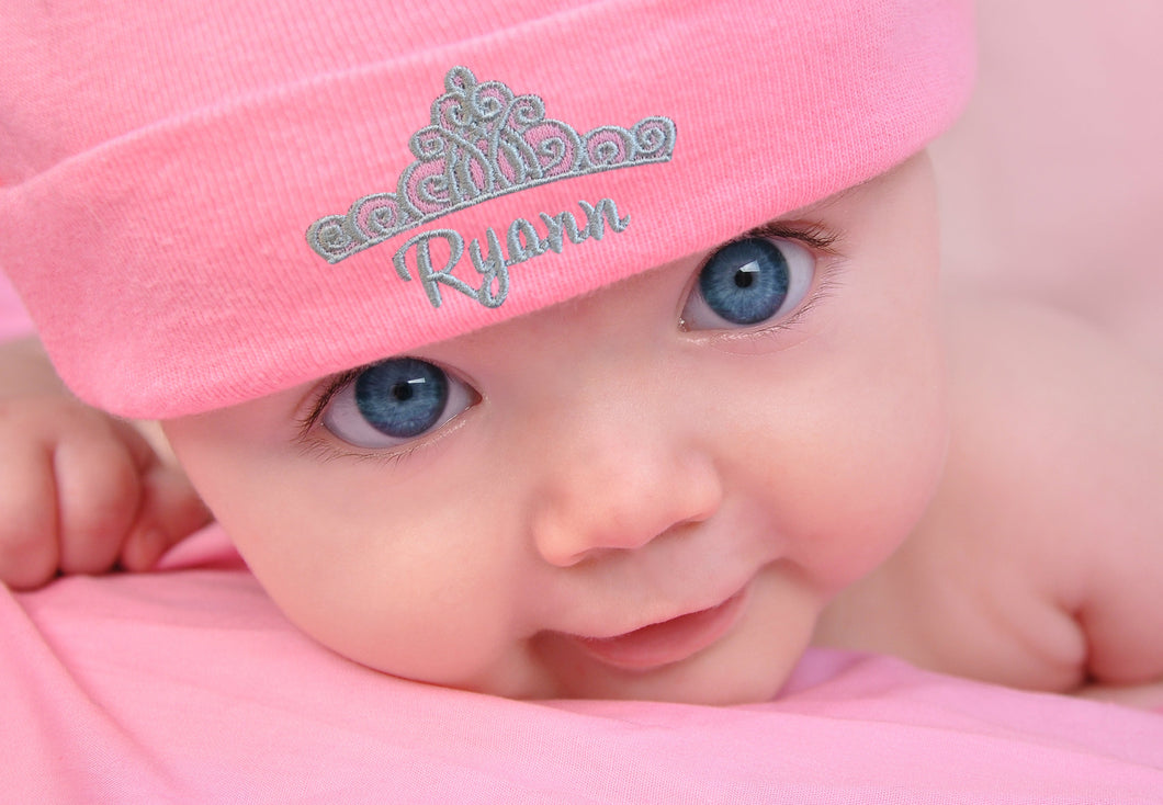 Personalized Embroidered Baby Girl Hat with Princess Crown