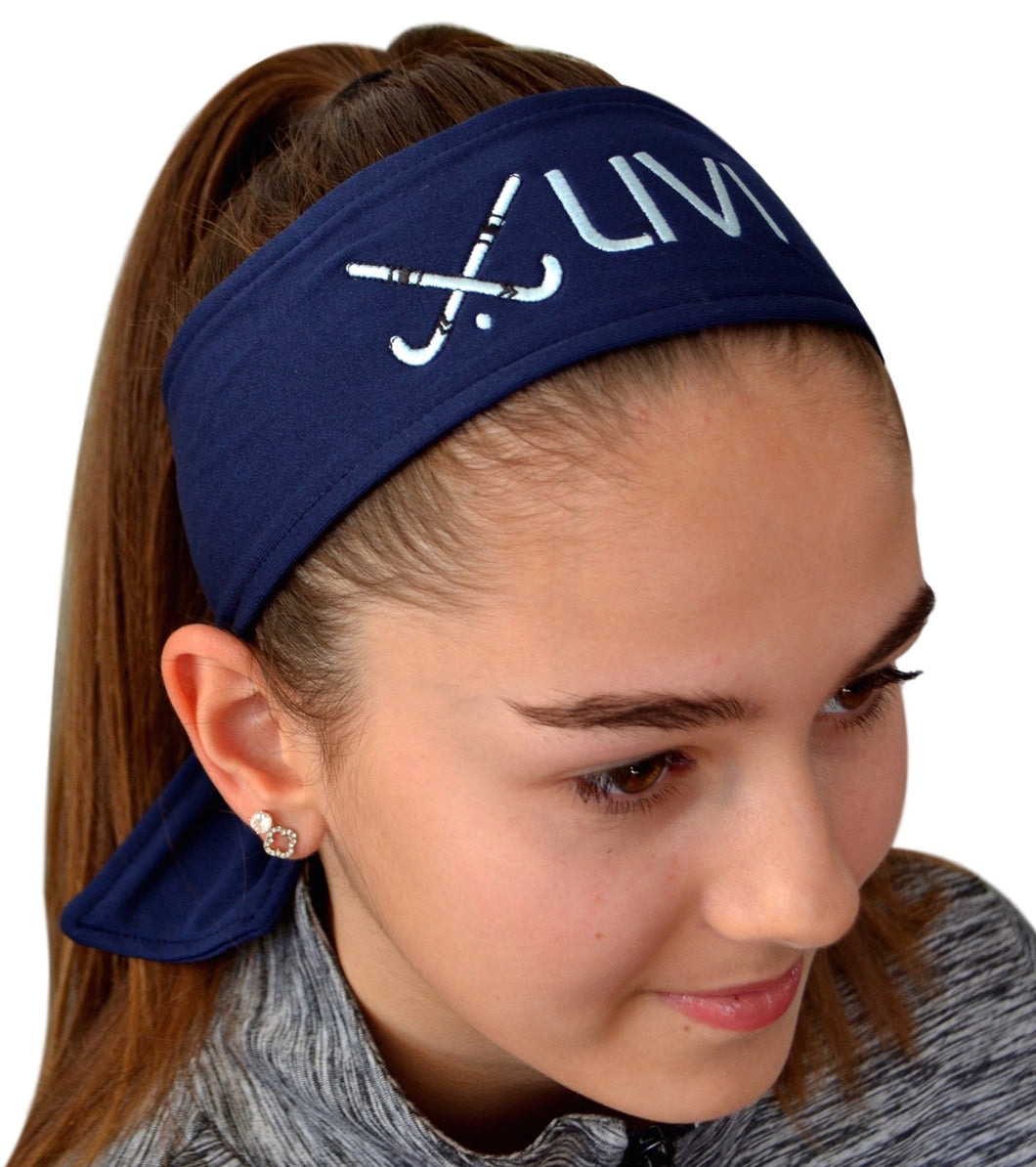Field Hockey Tie Back Moisture Wicking Headband Personalized with Your EMBROIDERED Text - Quantity Discounts