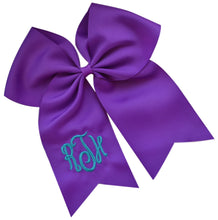 Load image into Gallery viewer, Monogrammed Initial Script Cheer Bow Custom Initials of your choice - 7.5 Inches Long!