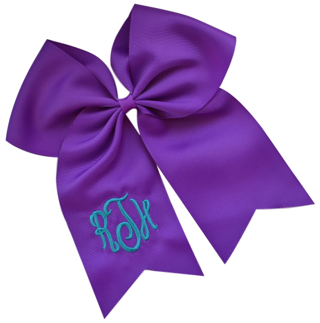Monogrammed Initial Script Cheer Bow Custom Initials of your choice - 7.5 Inches Long!