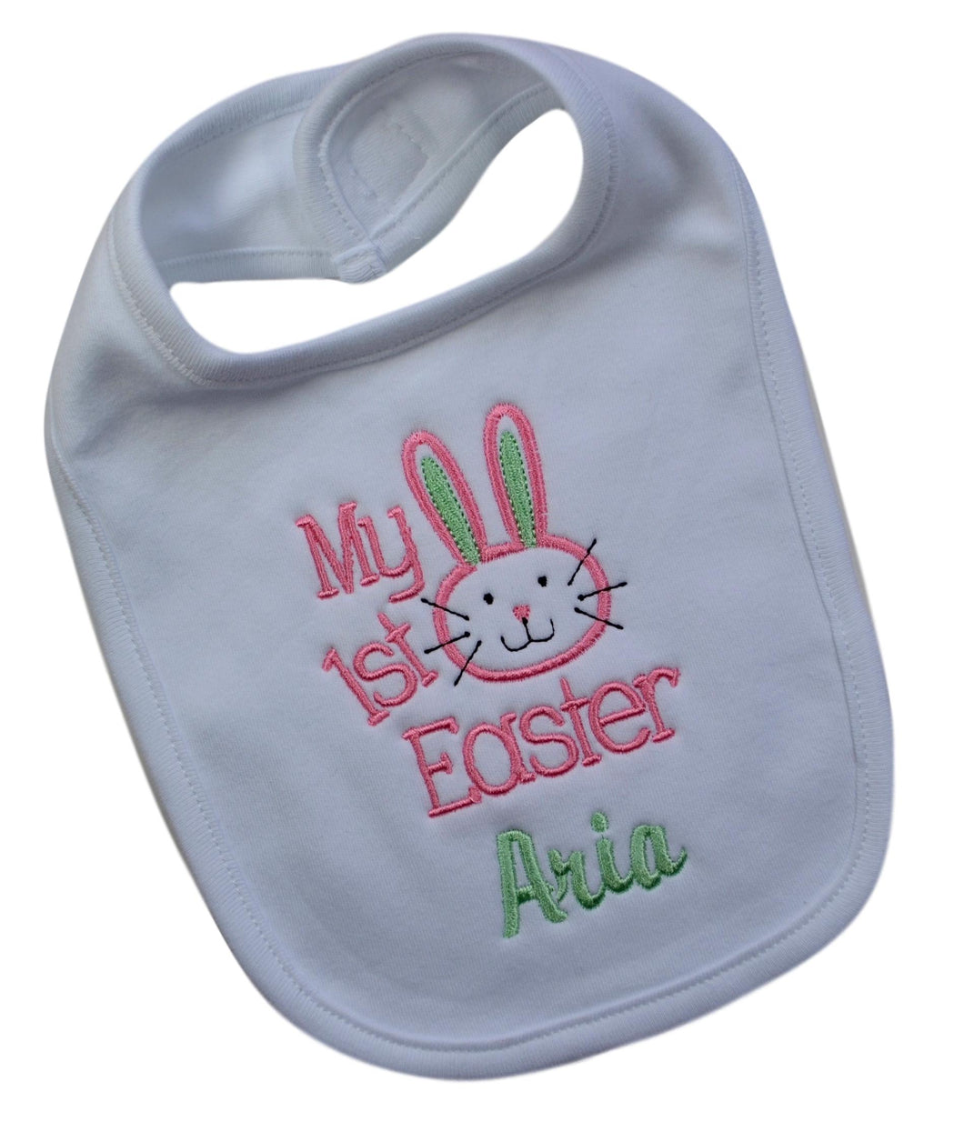 My First Easter Personalized Embroidered Bunny Bib for Baby Girls