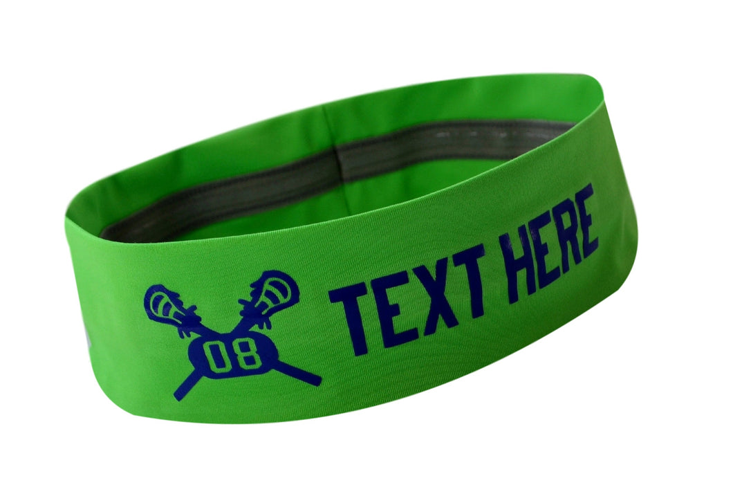 Design Your Own LACROSSE No Slip Silicone Lined Stretch Headband with Your Custom VINYL Text - Quantity Discounts