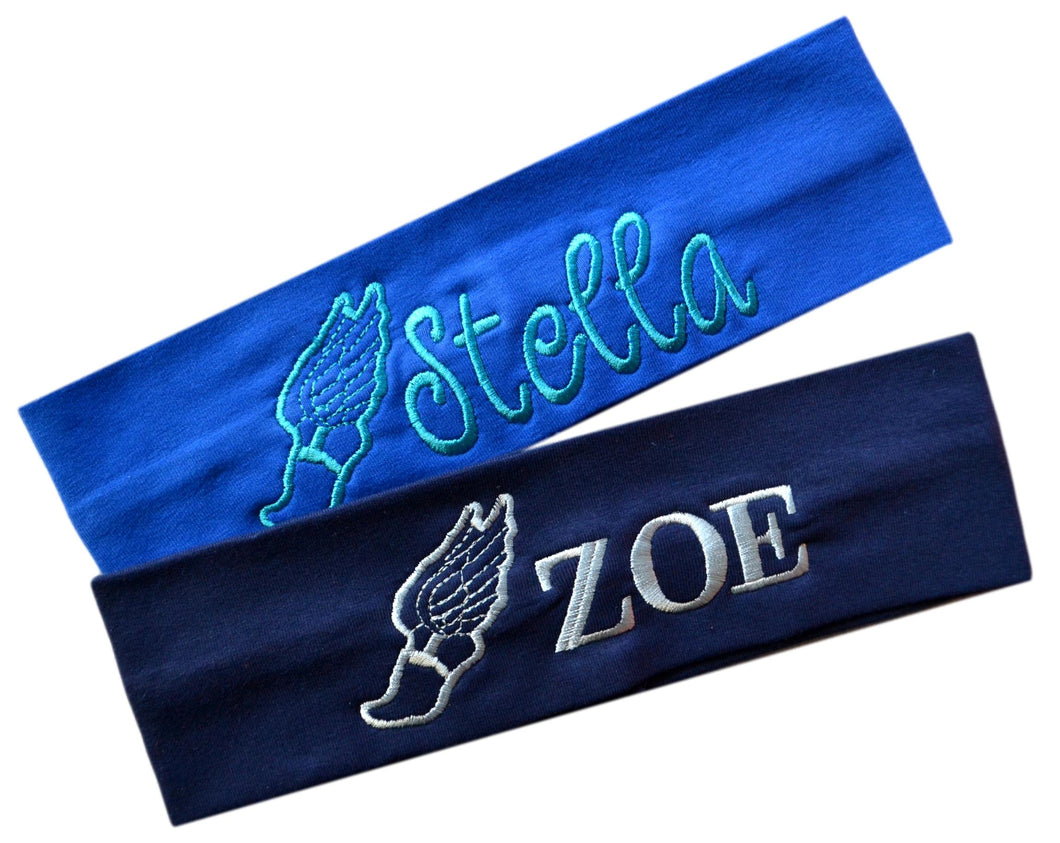 Personalized Monogrammed EMBROIDERED Track & Field Cotton Stretch Headband - Quantity Discounts