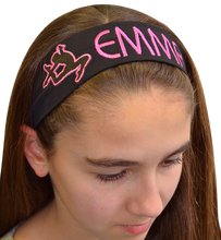 Load image into Gallery viewer, Personalized Monogrammed EMBROIDERED Gymnastics Cotton Stretch Headband - Quantity Discounts