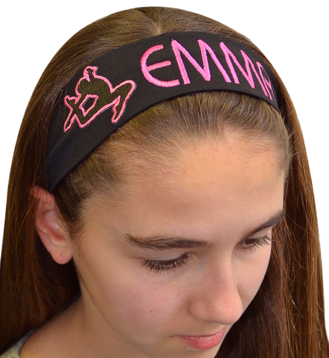 Personalized Monogrammed EMBROIDERED Gymnastics Cotton Stretch Headband - Quantity Discounts