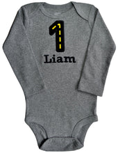 Load image into Gallery viewer, Embroidered First Birthday Year 1 Race Track Bodysuit for Baby Boys with Your Custom Name
