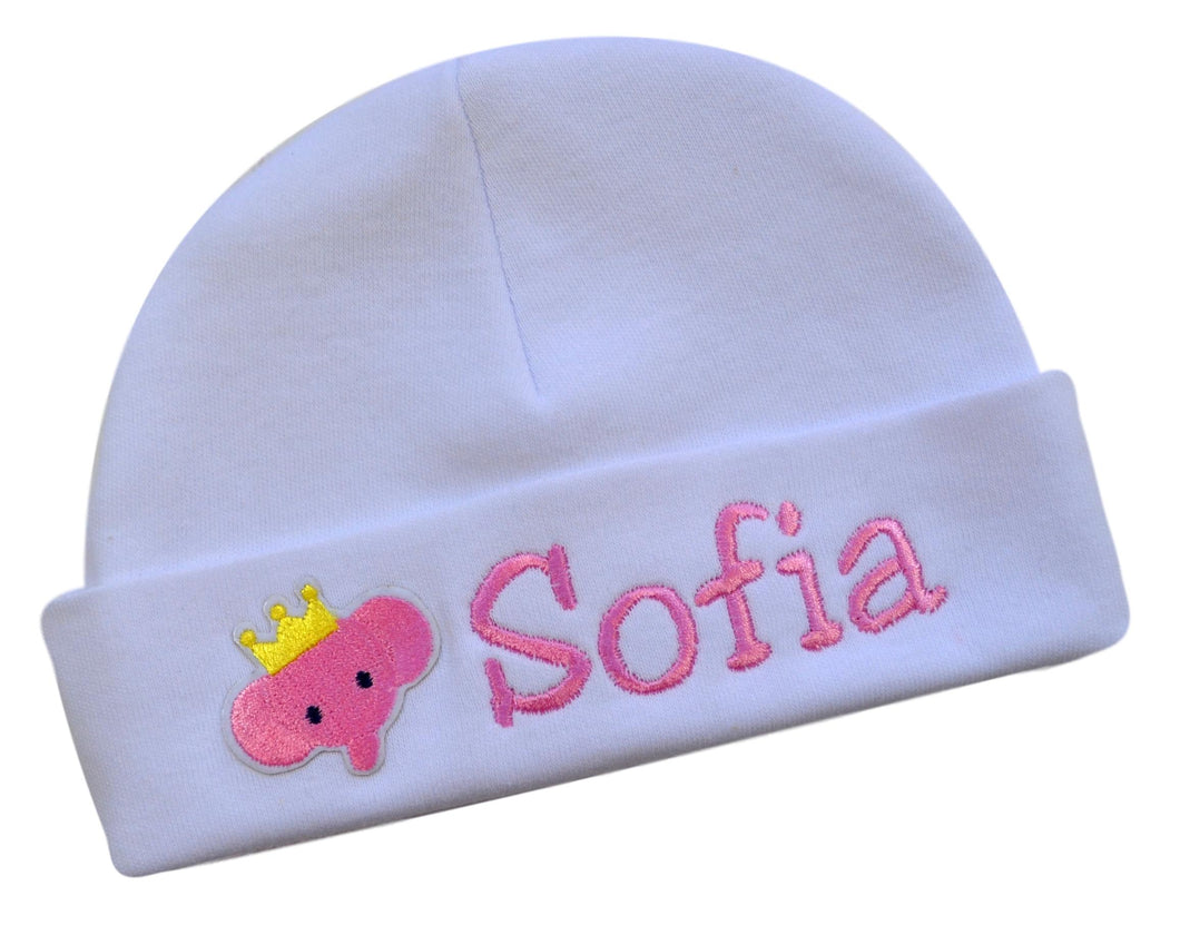Personalized Embroidered Baby Girl Hat with Pink Elephant Applique