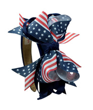 Load image into Gallery viewer, 4th of July Patriotic 4.5 Inch Loopy Grosgrain Bow Arch Headband
