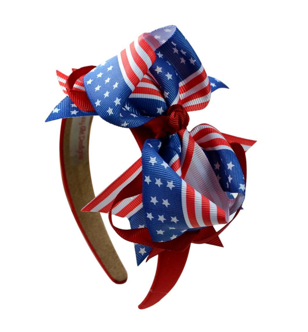 4th of July Patriotic 4.5 Inch Loopy Grosgrain Bow Arch Headband