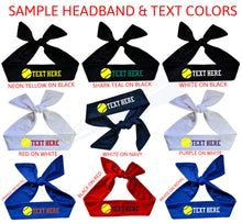 Load image into Gallery viewer, Design Your Own Neon Yellow Softball Tie Back Headband with VINYL Text - Quantity Discounts