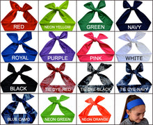 Load image into Gallery viewer, Track and Field Tie Back Moisture Wicking Headband Personalized with Your EMBROIDERED Text - Quantity Discounts