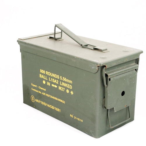 Belgian* Metal Ammo Box. .50-Cal. Used / Graded. Olive Green.