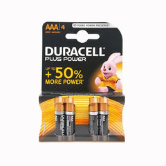 Batteries: Duracell. 4 x AAA. New. Black & Gold.