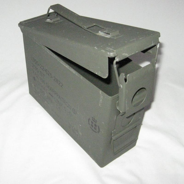 Danish Metal Ammo Box. .30-Cal. Olive Green.