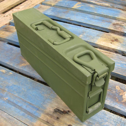 German Metal Ammo Box. 'MG-3'. Used / Graded. Olive Green/s.